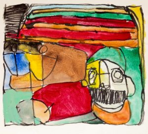 a-man-in-green-2015-acrylic-and-ink-on-paper-27-5-x-30-cm
