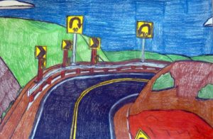 big-pines-highway-2016-colour-pencil-on-paper-30-5-x-45-7-cm