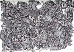 drawing-down-the-phoenix-2014-pen-on-paper-59-4-x-84-1-cm