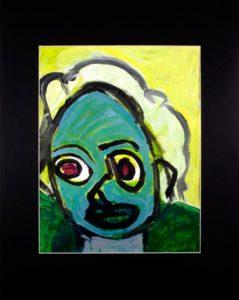 green-face-aunt-rita-2015-acrylic-on-paper-50-8-x-40-6-cm