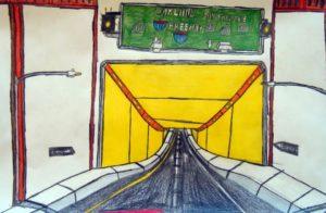 oakland-tunnel-2016-colour-pencil-on-paper-30-5-x-45-7-cm
