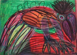 paradise-bird-on-the-ground-2014-oil-pastel-on-paper-50-x-70-cm