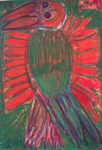 standing-paradise-bird-2014-oil-pastel-on-paper-70-x-50-cm
