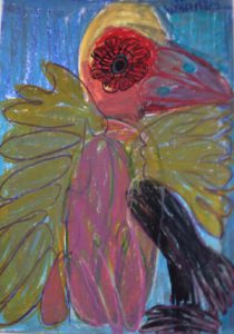 tropical-bird-2013-oil-pastel-on-paper-70-x-50-cm