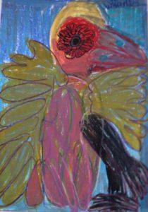 tropical-bird-2013-oil-pastel-on-paper-70-x-50-cm